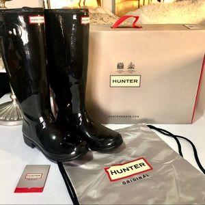 Hunter   Original Black Tall Gloss Rain Boots